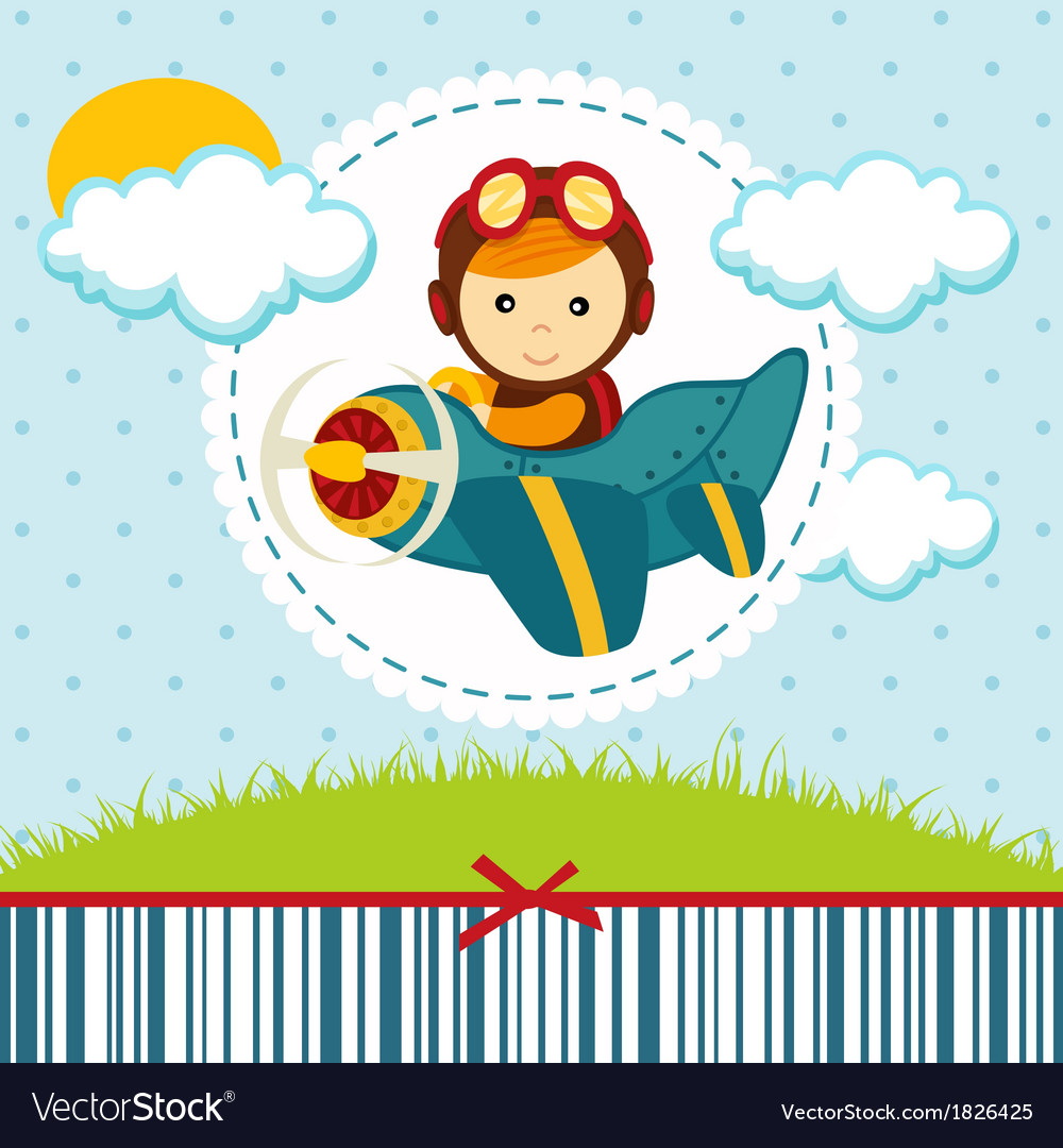 Baby boy pilot vector | Price: 1 Credit (USD $1)