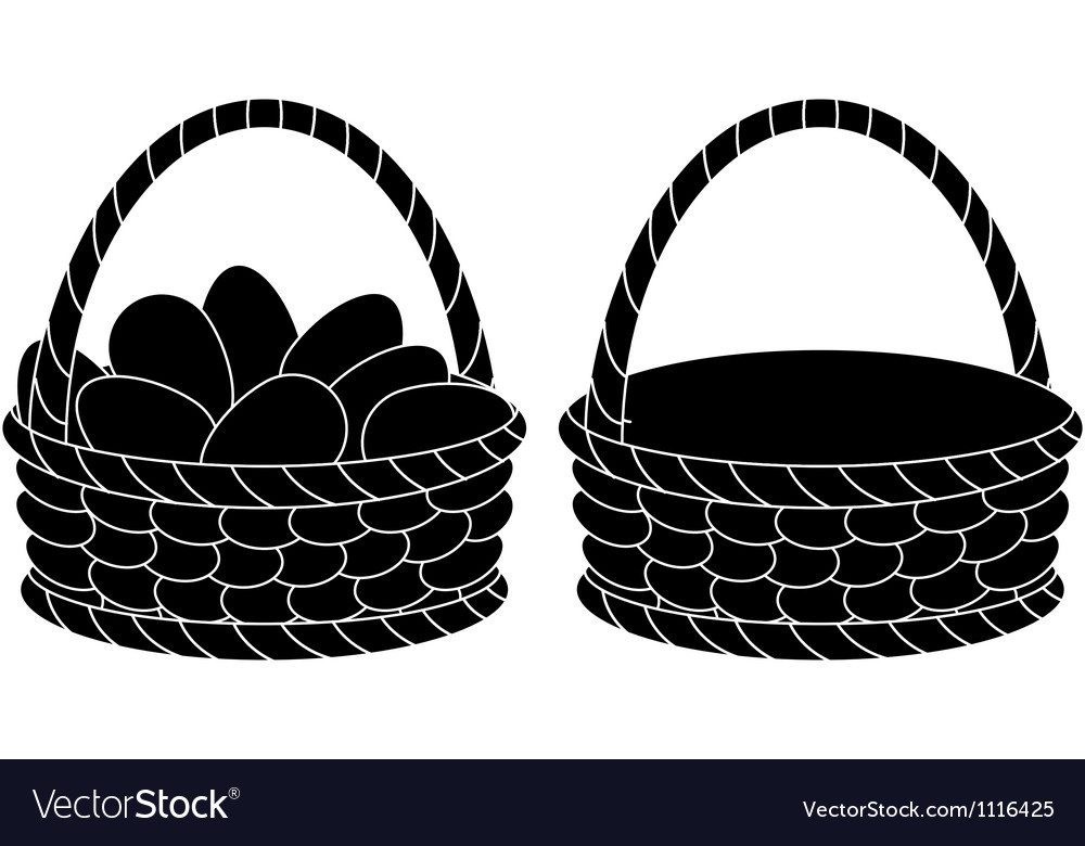 Baskets empty and with eggs silhouettes vector | Price: 1 Credit (USD $1)
