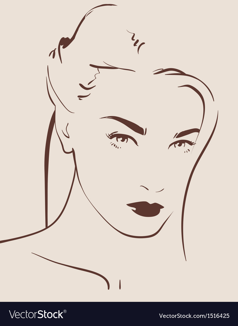 Beautiful woman face hand drawn vector   Price: 3 Credit (USD $3)