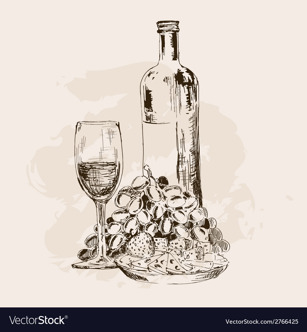 Bottle of wine glass grapes and snacks vector | Price: 1 Credit (USD $1)