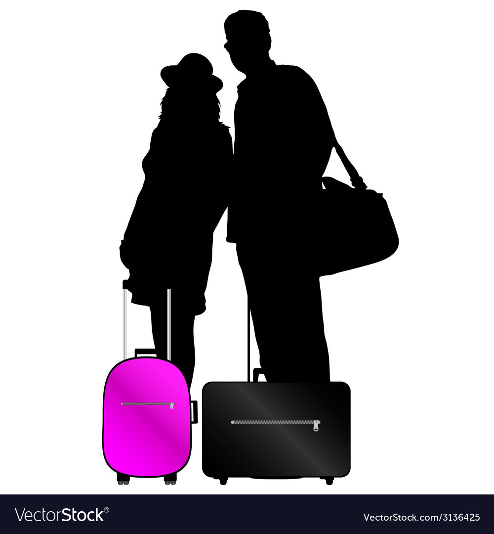 Couple with bags to travel vector | Price: 1 Credit (USD $1)