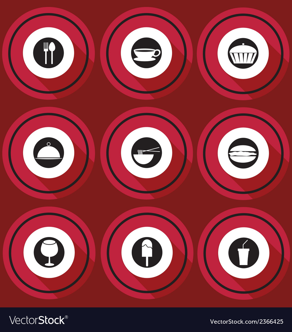 Food icons in flat design vector | Price: 1 Credit (USD $1)