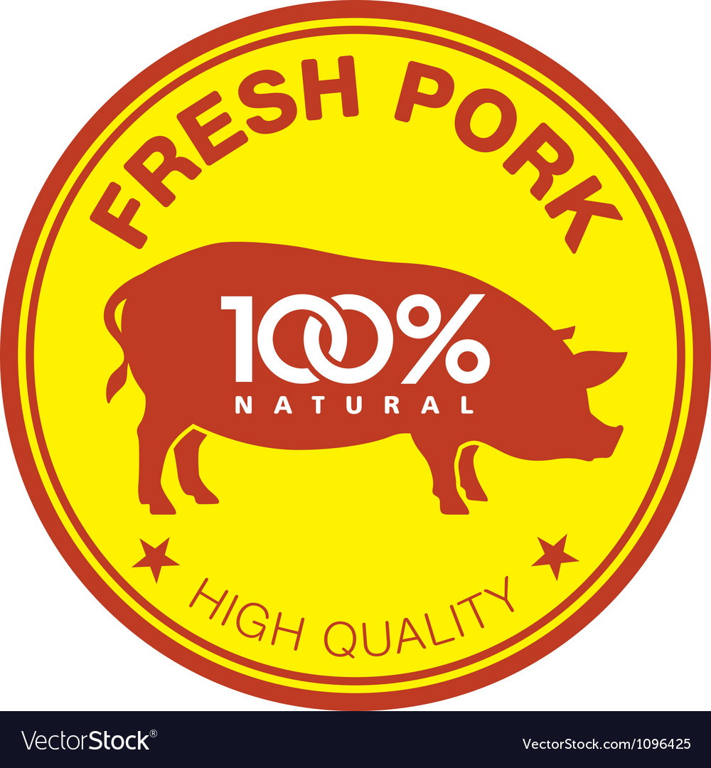 Fresh pork label vector | Price: 1 Credit (USD $1)