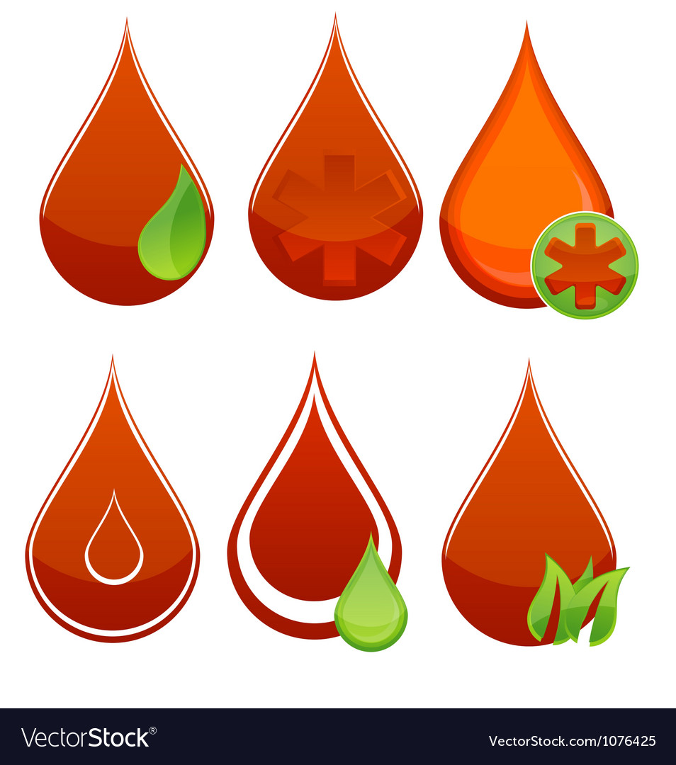 Medic blood drop set red and green color vector | Price: 1 Credit (USD $1)