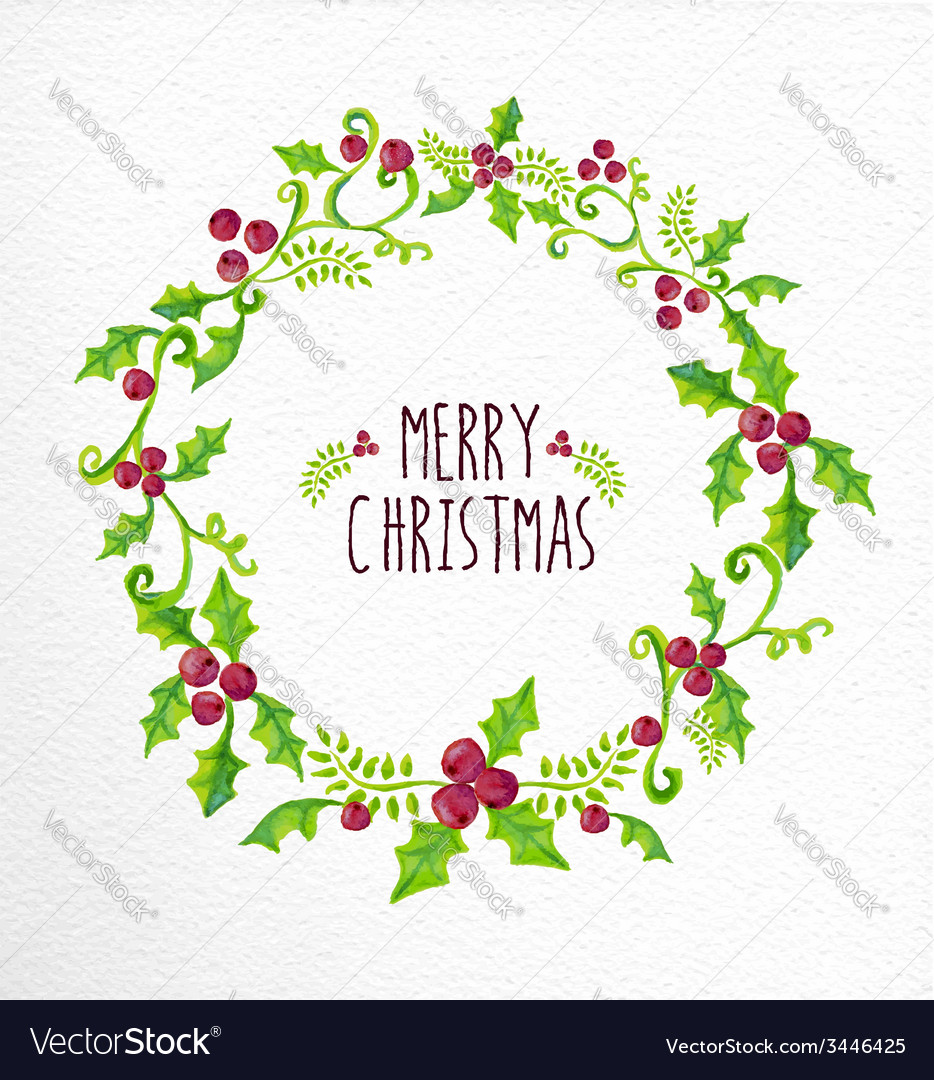 Merry christmas watercolor holly berry wreath card vector | Price: 1 Credit (USD $1)
