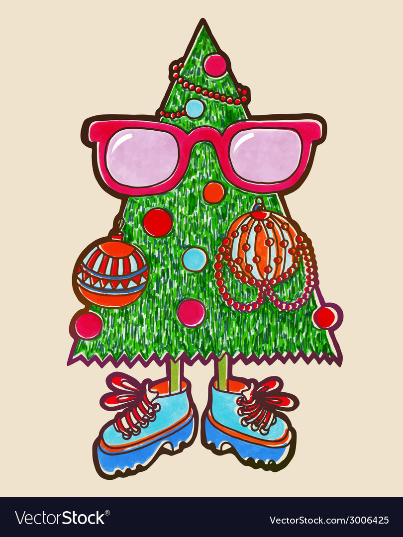 Original marker drawing of animated christmas tree vector | Price: 1 Credit (USD $1)