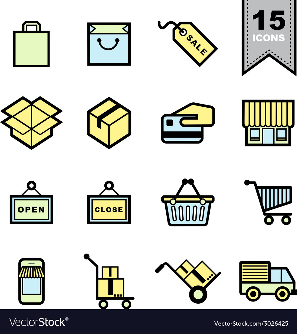 Packaging icons set vector | Price: 1 Credit (USD $1)