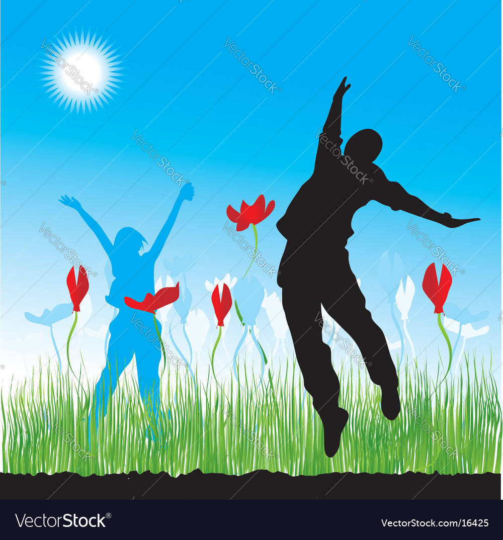 People on nature grass spring vector | Price: 1 Credit (USD $1)