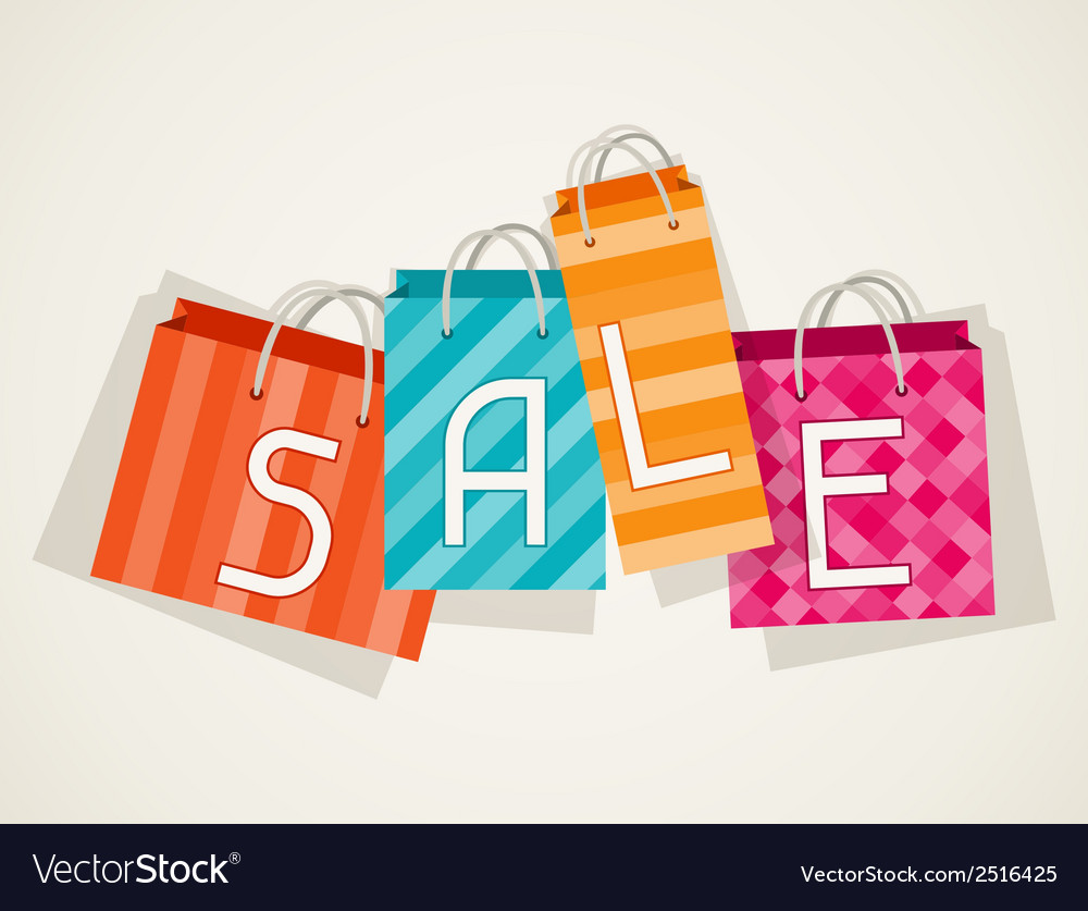 Sale poster with shopping bags in flat design vector | Price: 1 Credit (USD $1)