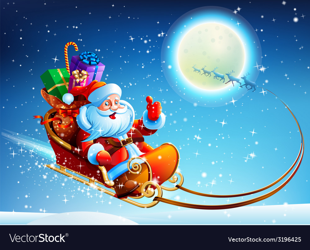 Santa claus in a sleigh vector | Price: 5 Credit (USD $5)