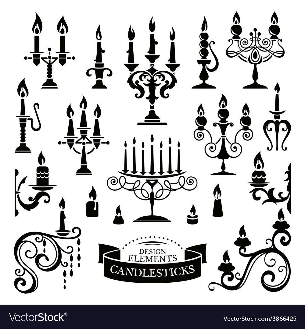 Silhouettes of candlesticks vector | Price: 1 Credit (USD $1)