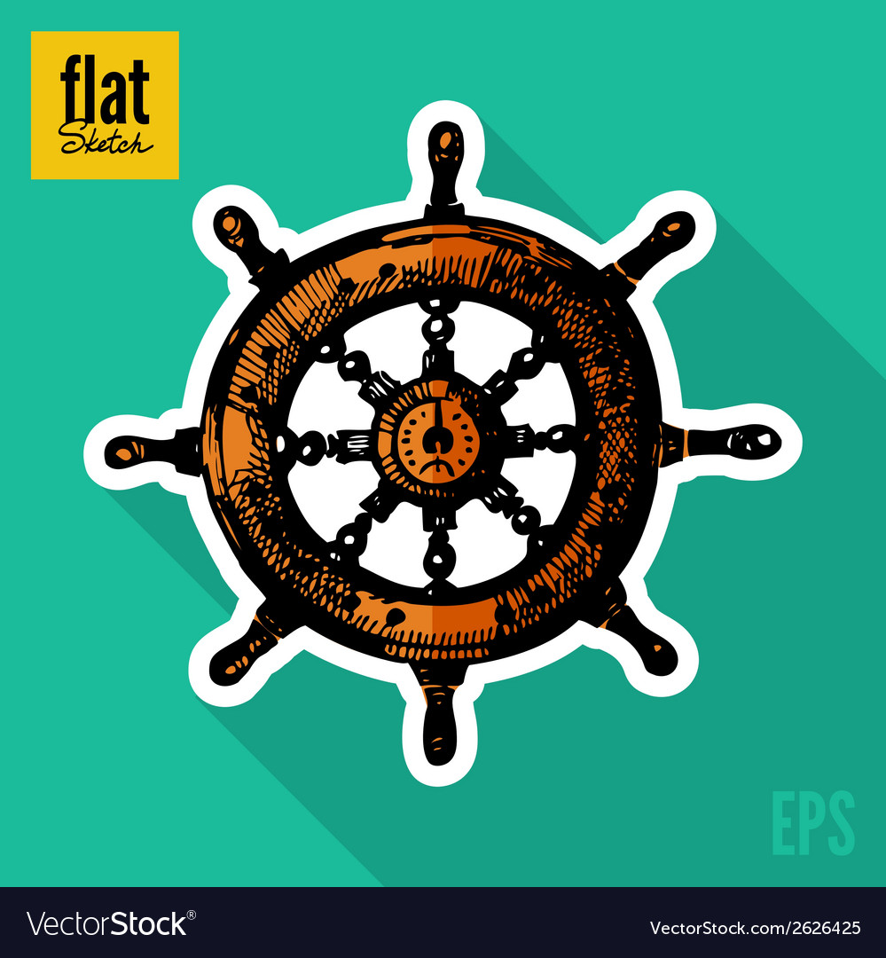 Sketch style hand drawn ships wheel flat icon vector | Price: 1 Credit (USD $1)