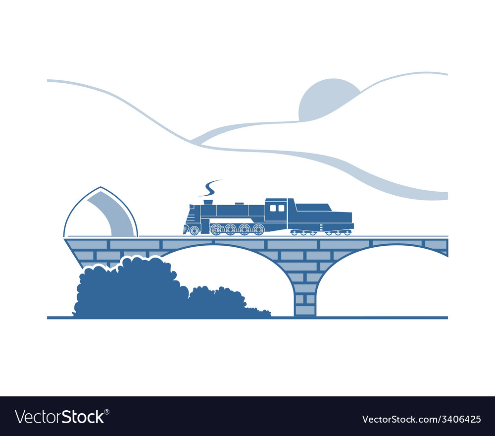 Steam locomotive in the mountains vector | Price: 1 Credit (USD $1)