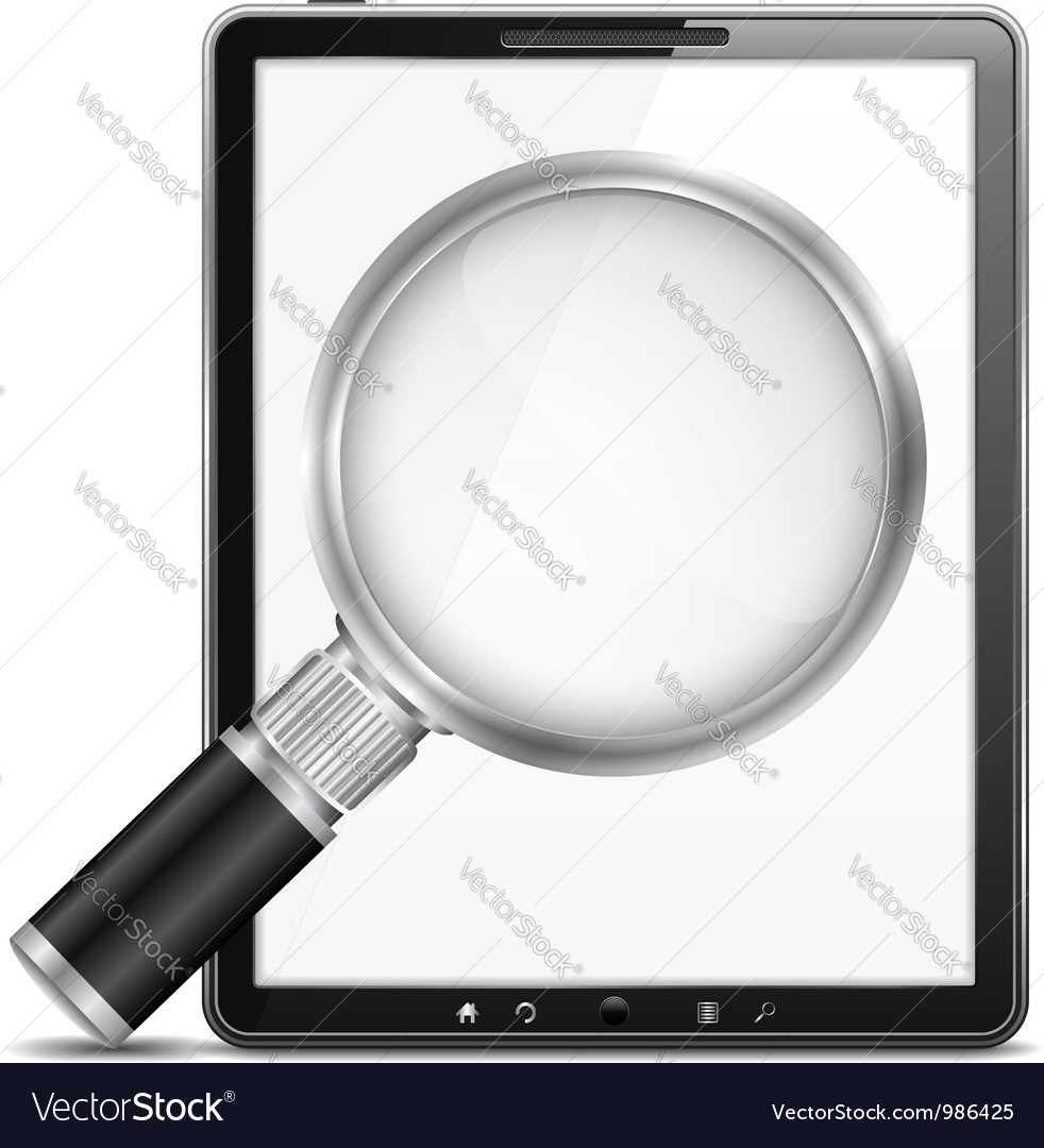 Tablet computer with magnifying glass vector | Price: 1 Credit (USD $1)