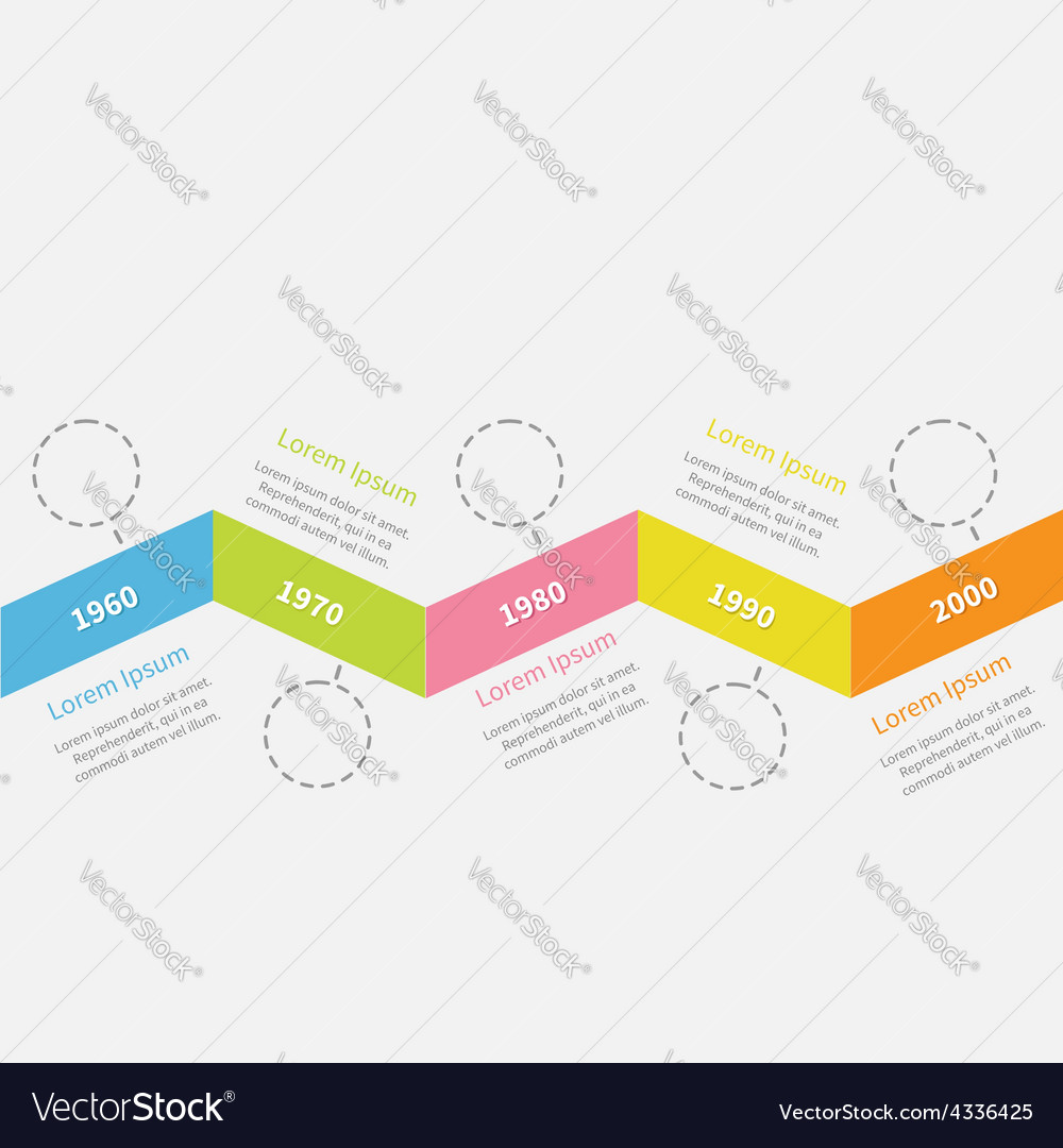 Timeline infographic zigzag ribbon dash line vector | Price: 1 Credit (USD $1)