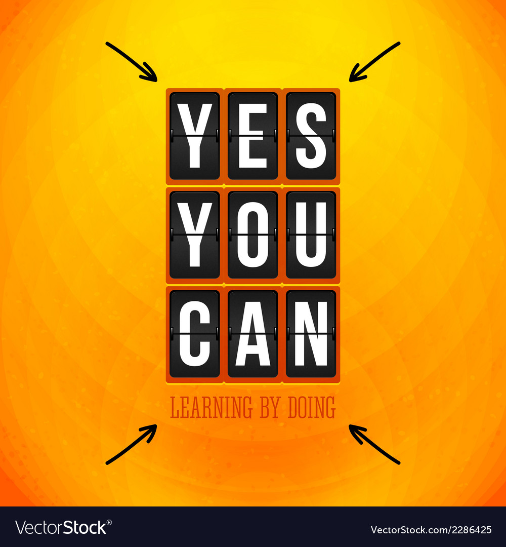 Yes you can motivational poster typography design vector | Price: 1 Credit (USD $1)