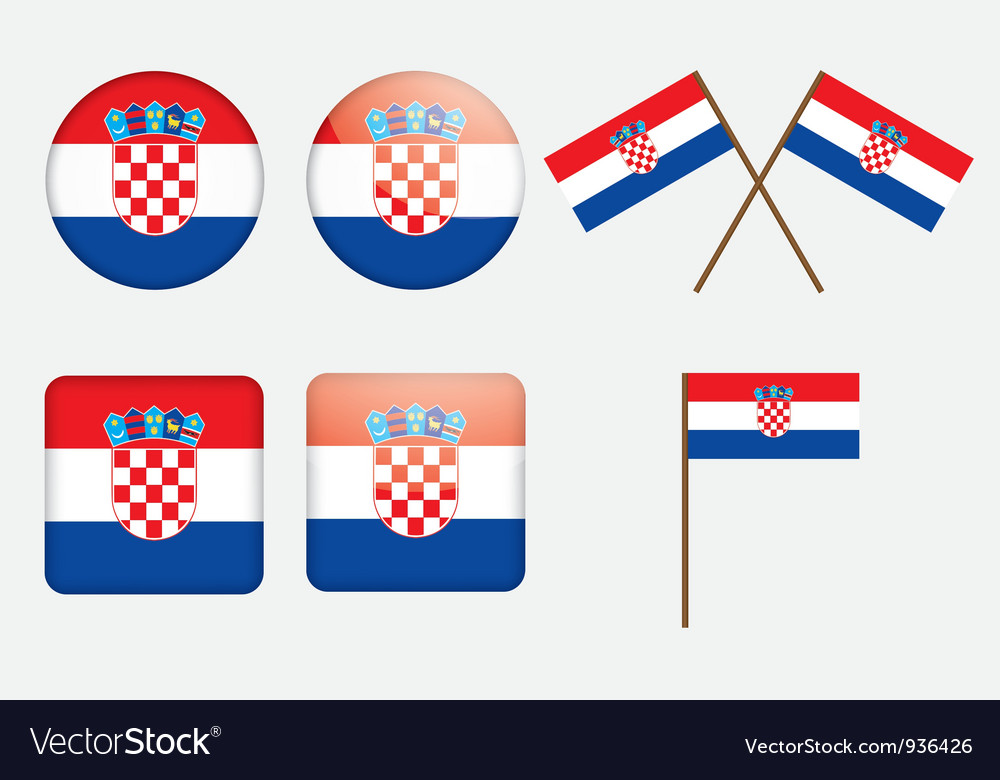Badges with flag of croatia vector   Price: 1 Credit (USD $1)