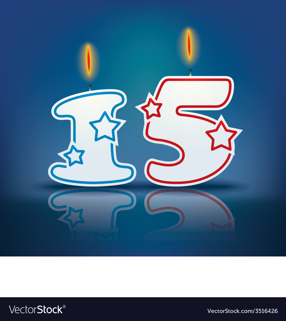 Birthday candle number 15 vector | Price: 1 Credit (USD $1)