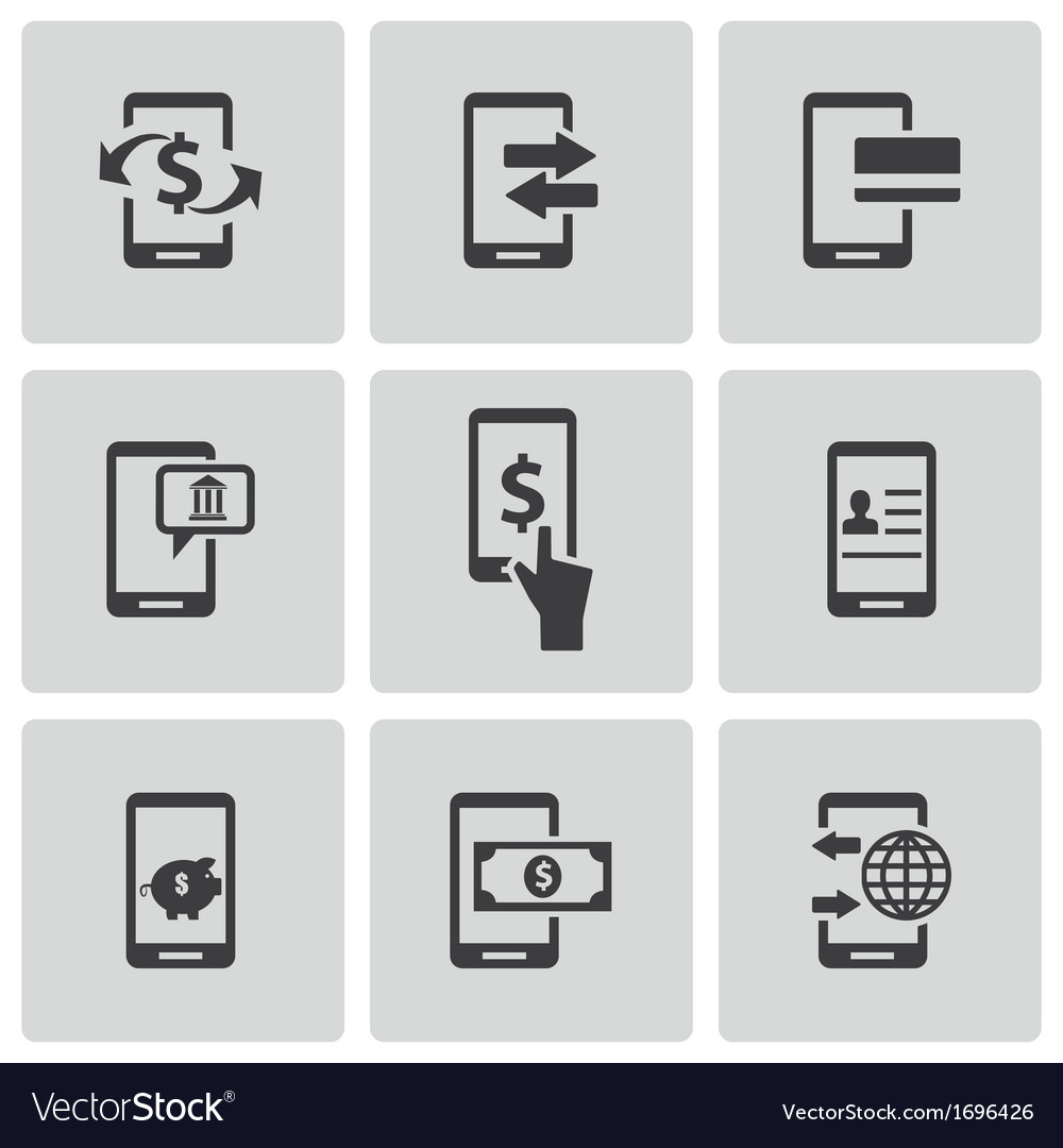 Black mobile banking icons set vector | Price: 1 Credit (USD $1)
