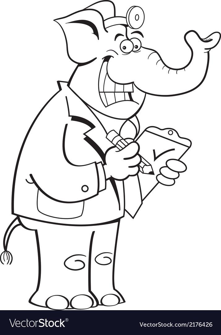 Cartoon elephant doctor vector | Price: 1 Credit (USD $1)