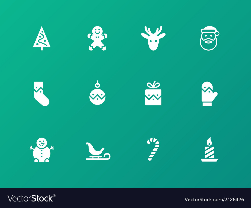 Christmas icons on white background vector | Price: 1 Credit (USD $1)
