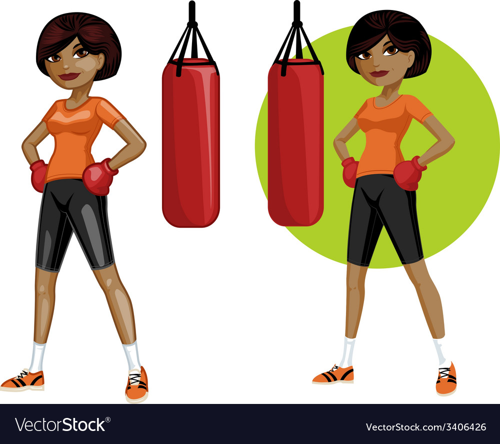 Cute young african american woman boxer vector | Price: 3 Credit (USD $3)