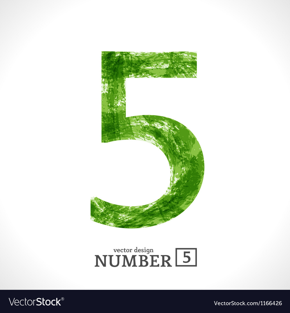 Grunge number 5 vector | Price: 1 Credit (USD $1)