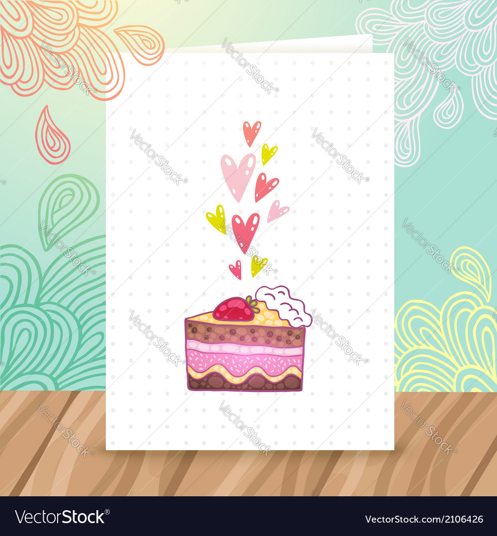 Happy birthday postcard template with cake vector | Price: 1 Credit (USD $1)