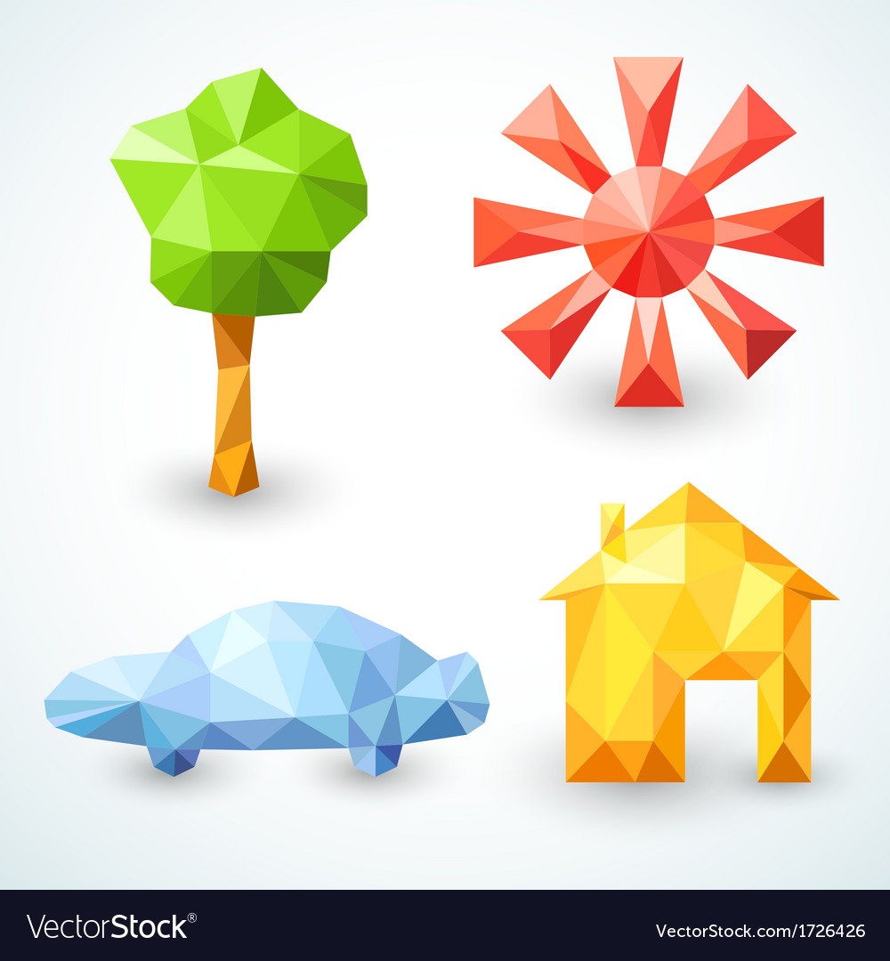 House car tree and sun icons set vector | Price: 1 Credit (USD $1)