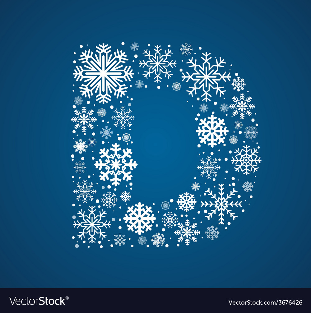 Letter d font frosty snowflakes vector | Price: 1 Credit (USD $1)