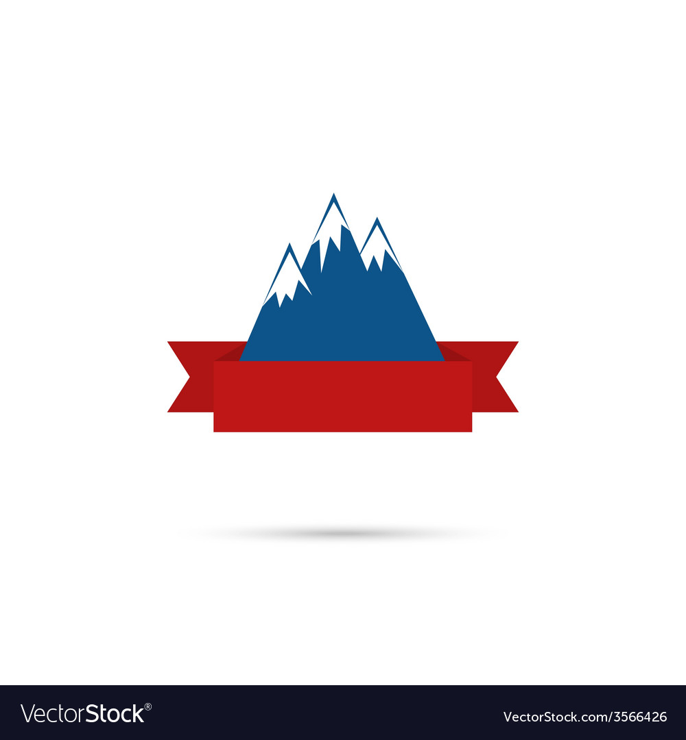 Mountains with ribbon for your text vector | Price: 1 Credit (USD $1)