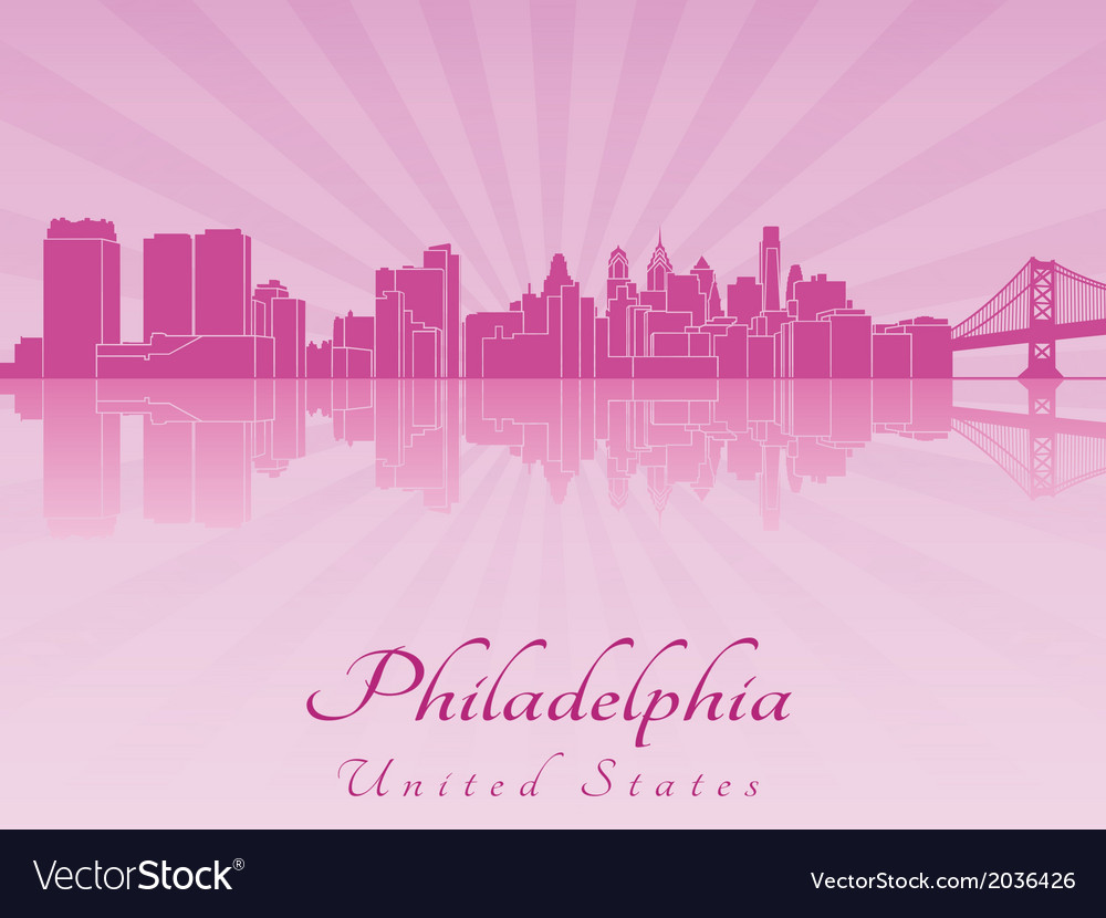 Philadelphia skyline in purple radiant orchid vector | Price: 1 Credit (USD $1)