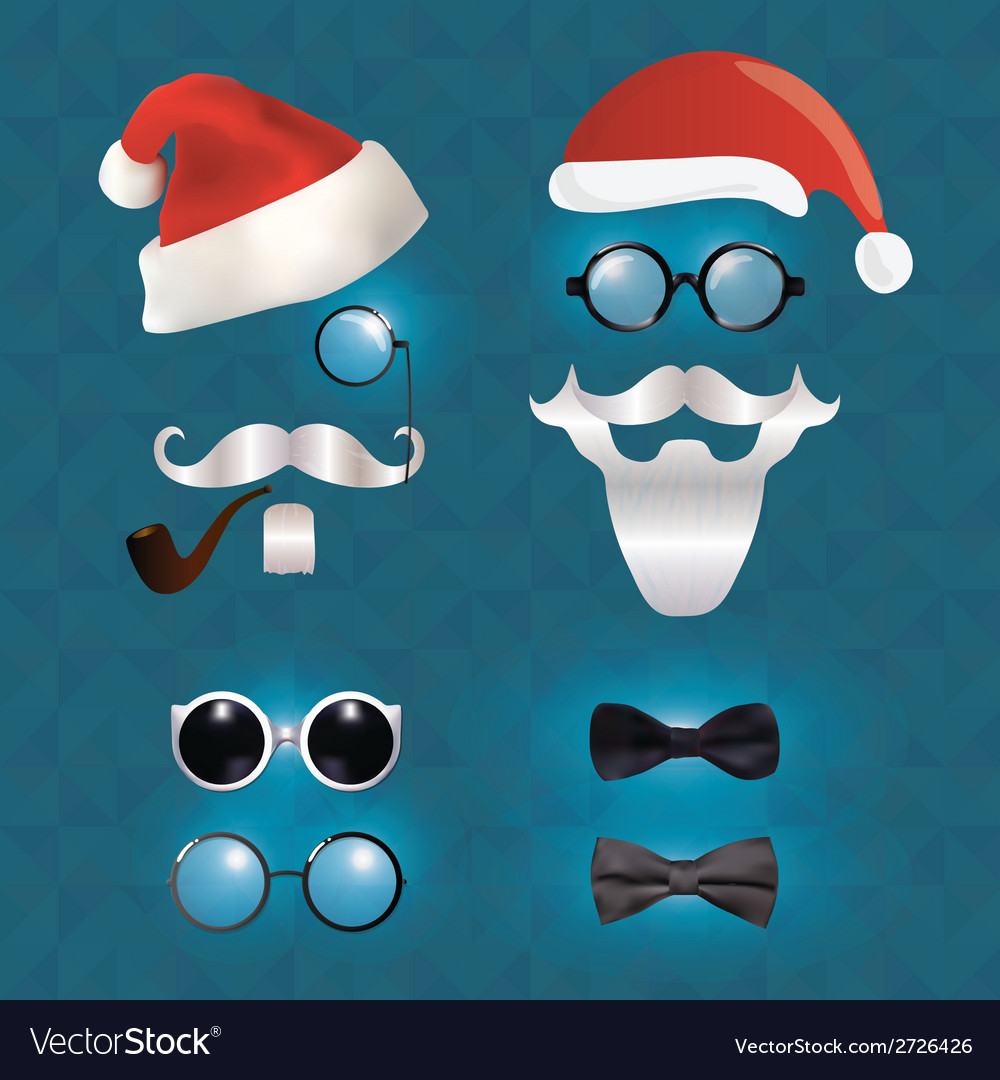 Santa klaus fashion set hipster style vector | Price: 1 Credit (USD $1)