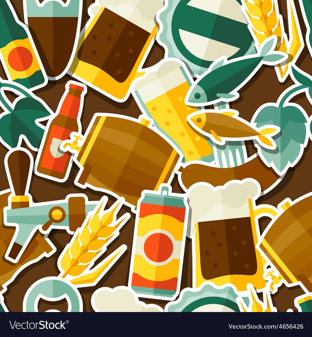 Seamless pattern with beer sticker icons and vector | Price: 1 Credit (USD $1)