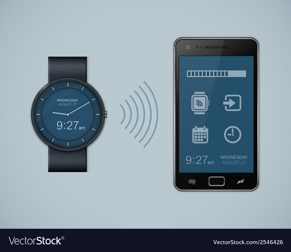 Smartwatch and smartphone communication vector | Price: 1 Credit (USD $1)
