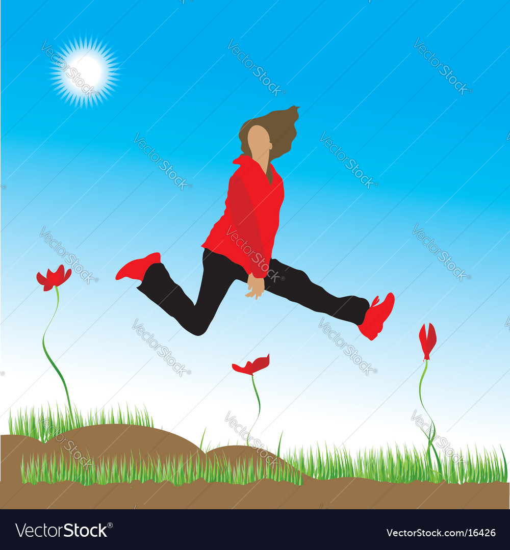 Woman on nature spring vector | Price: 1 Credit (USD $1)