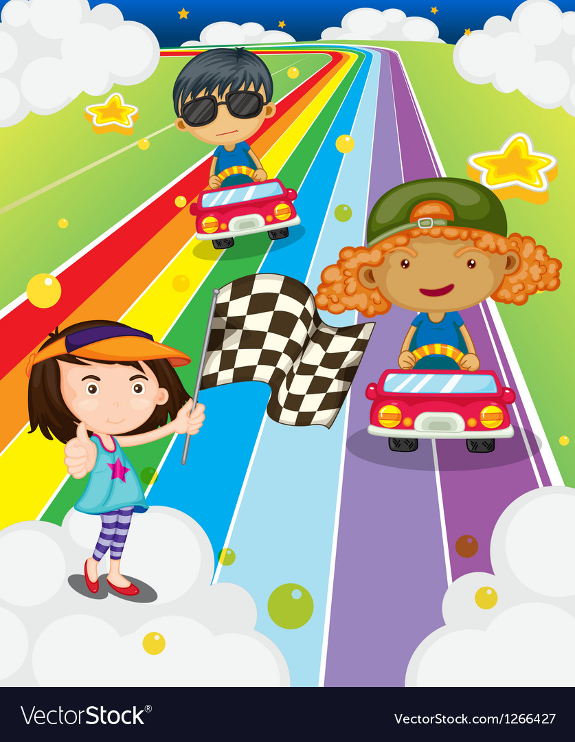 A car race at the colorful road vector | Price: 1 Credit (USD $1)