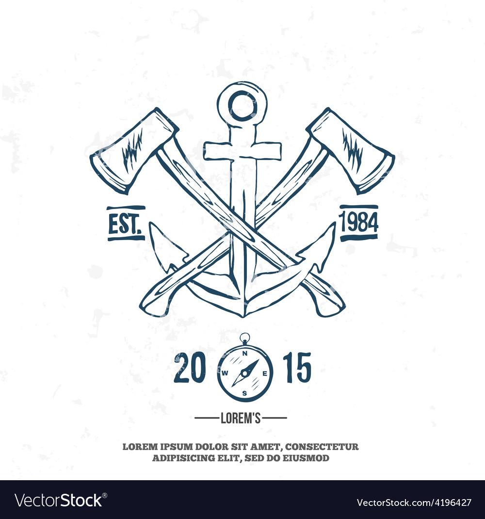 Anchor with crossed axes design elements t-shirt vector | Price: 1 Credit (USD $1)