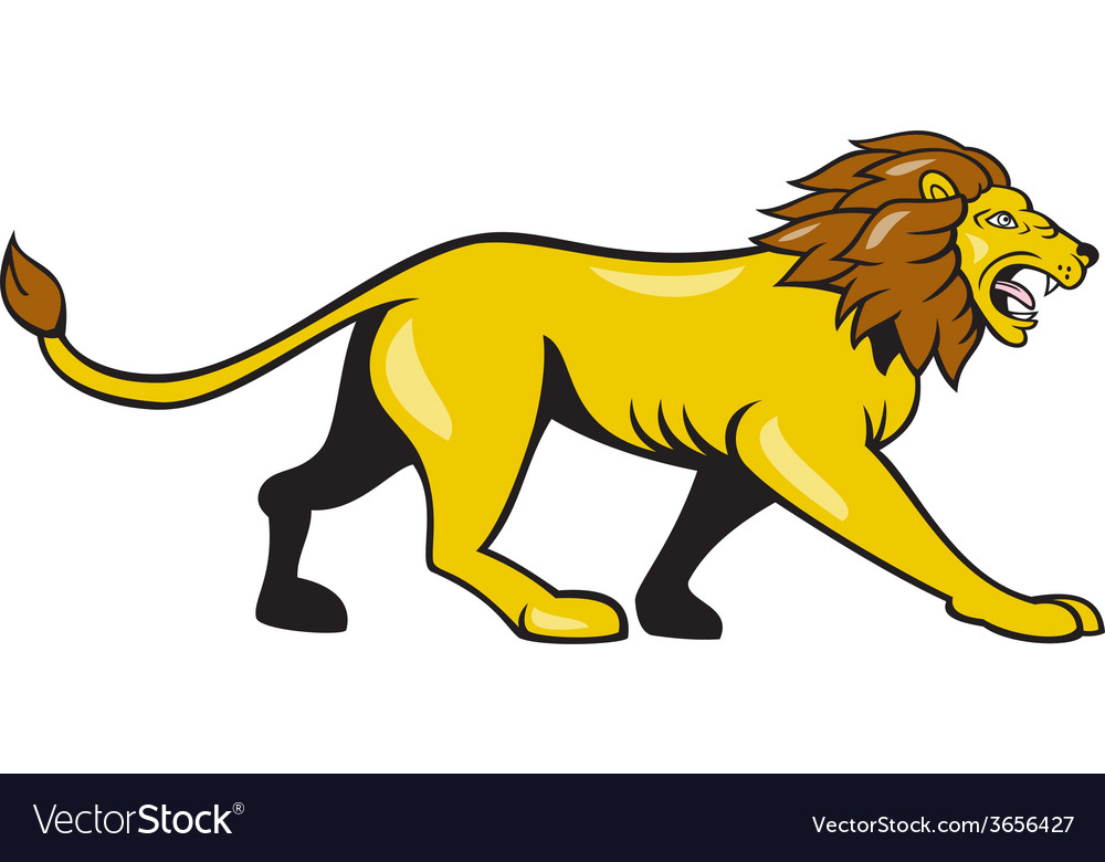 Angry lion walking roar cartoon vector | Price: 1 Credit (USD $1)