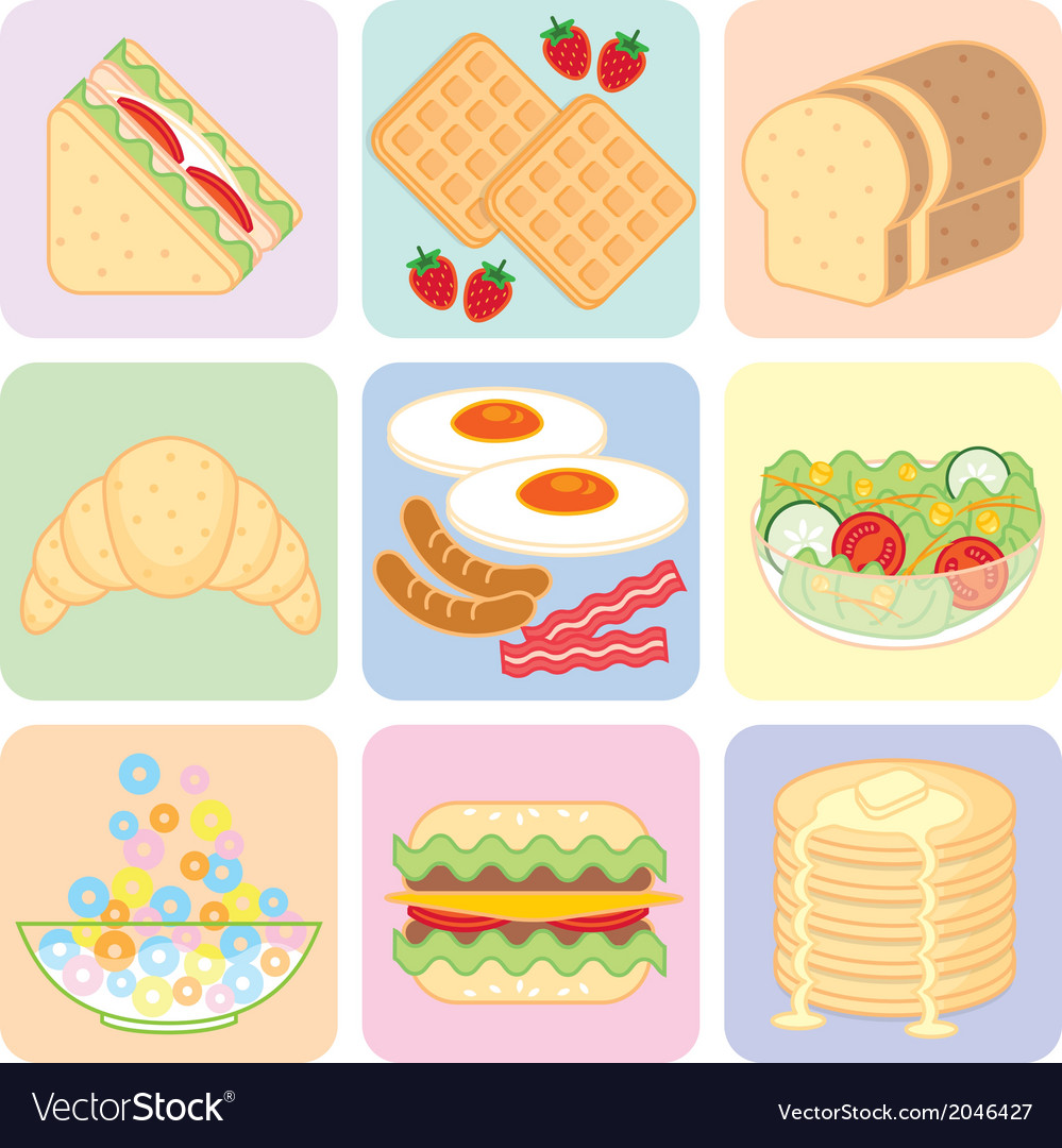 Breakfast food set vector | Price: 1 Credit (USD $1)