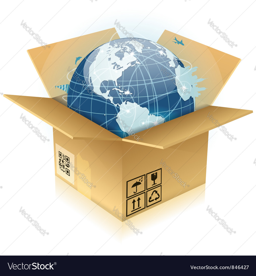 Cardboard box with earth vector | Price: 3 Credit (USD $3)