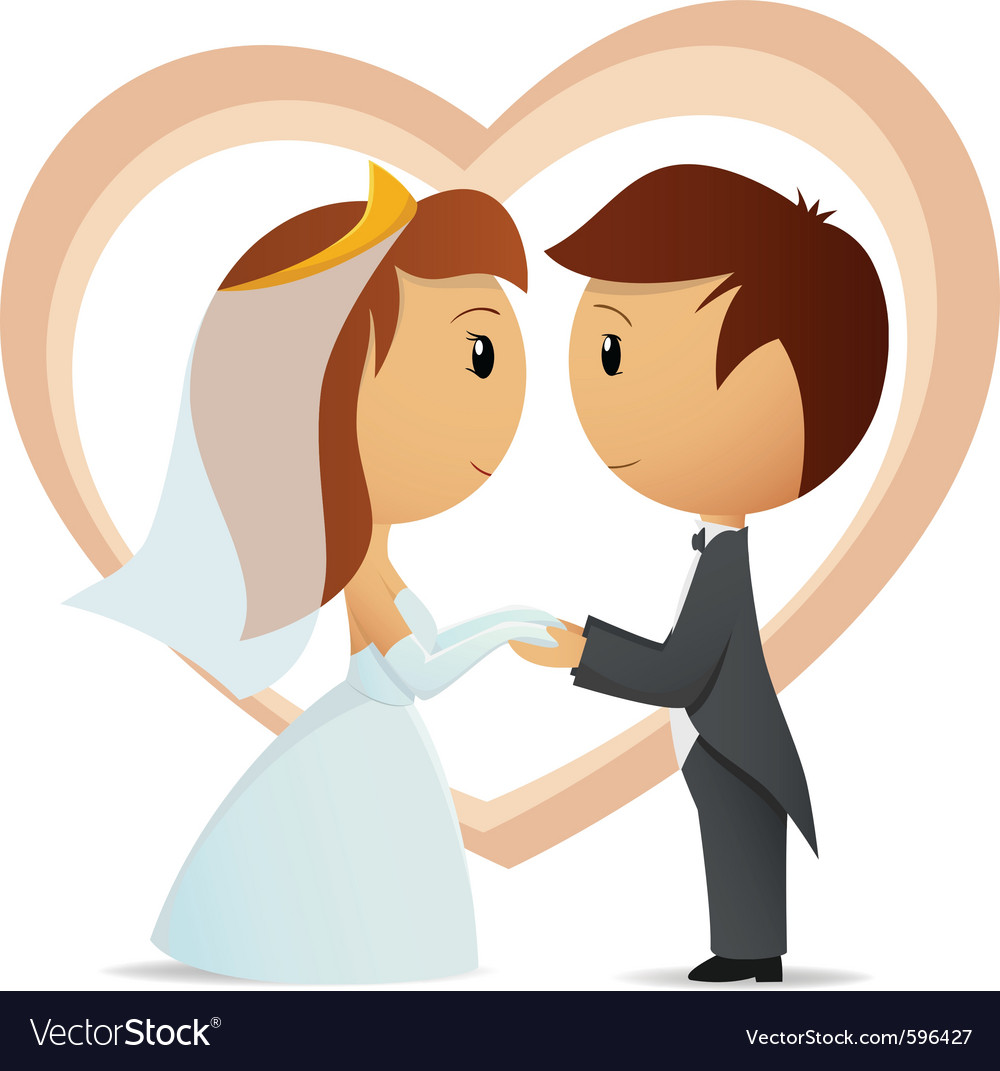 Cartoon bride and groom vector | Price: 3 Credit (USD $3)