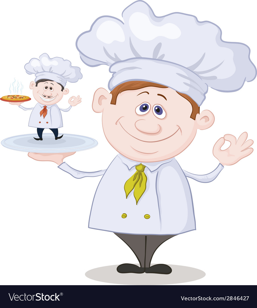 Cartoon cook and little chef with pizza vector | Price: 1 Credit (USD $1)