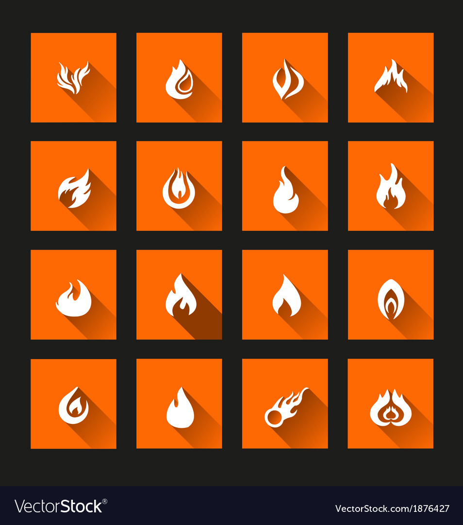 Flame icons long shadow vector | Price: 1 Credit (USD $1)