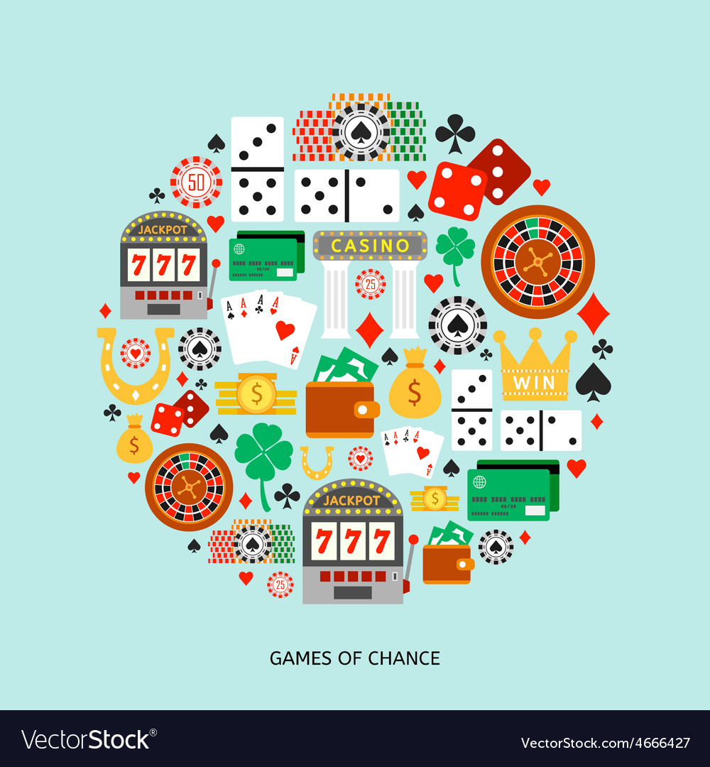 Gambling flat icons set vector | Price: 1 Credit (USD $1)