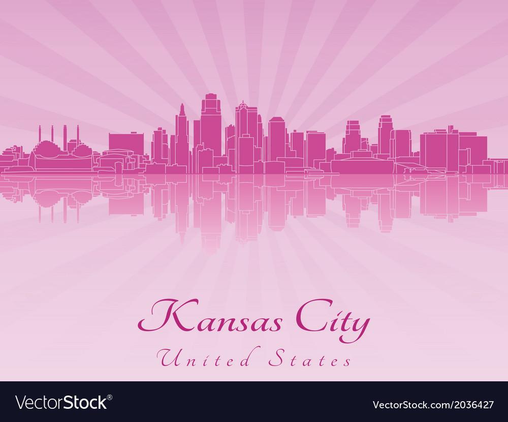 Kansas city skyline in purple radiant orchid vector | Price: 1 Credit (USD $1)