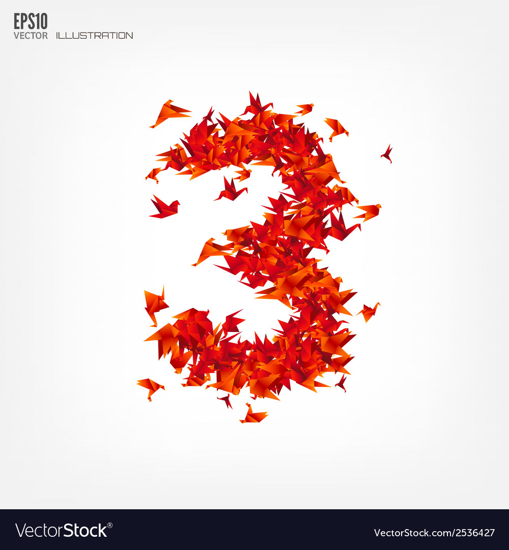 Number 3 numbers with origami paper bird on vector | Price: 1 Credit (USD $1)