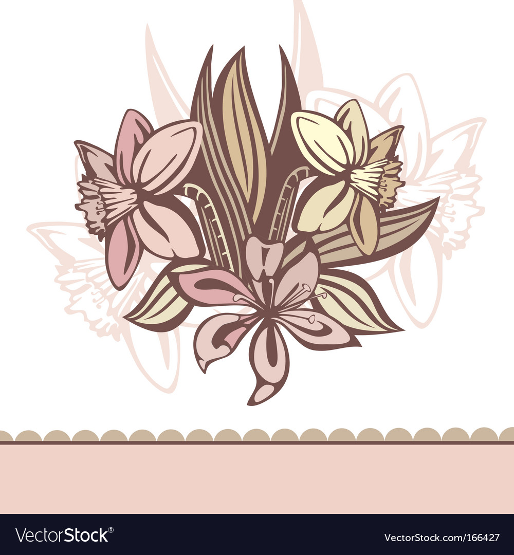 Retro background with flowers vector | Price: 1 Credit (USD $1)