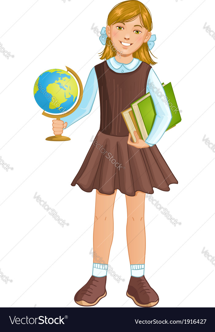 Schoolgirl with globe and books eps10 vector | Price: 1 Credit (USD $1)