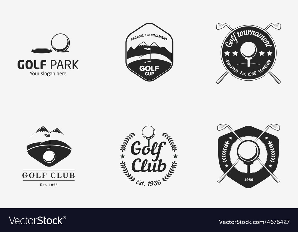 Set of vintage black and white golf championship vector | Price: 1 Credit (USD $1)